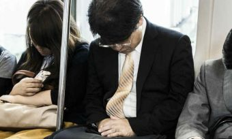 train commuters asleep