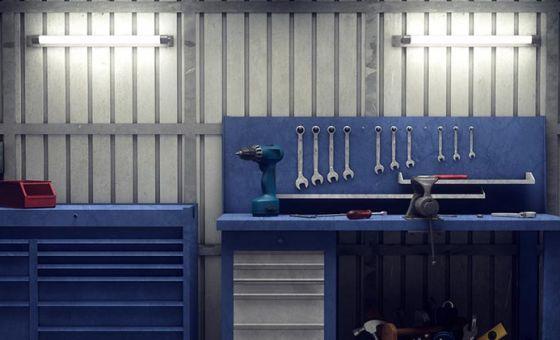 Dad's blue work bench in the garage.