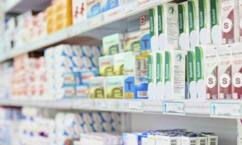 pharmacy stock shelf