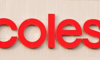 Coles logo on a corrugated wall.
