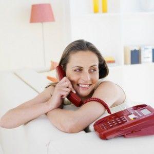 Woman landline phone