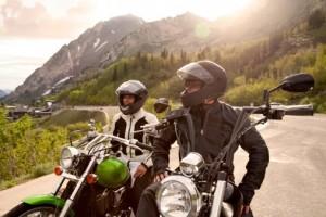 Two Men on Motorbike road trip