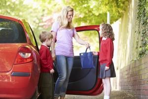 Mum drives kids to school