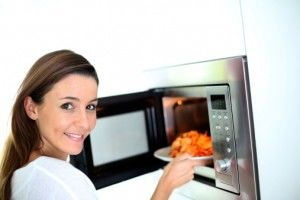 Woman and microwave