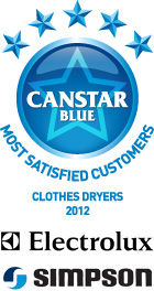 2012: Most Satisfied Customers Award for Clothes Dryers - Electrolux and Simpson