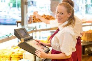 Smiling cashier