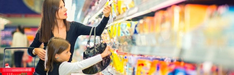 grocery shopping mum and daughter banner
