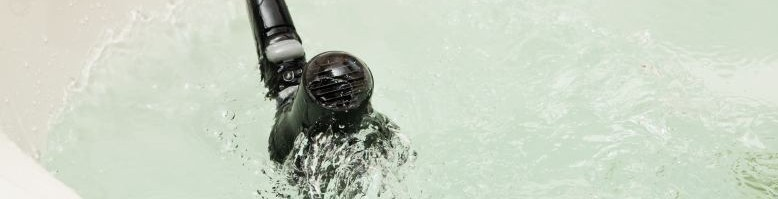 hairdryer in water