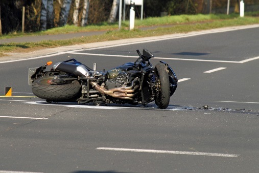 Motorbike accident on road