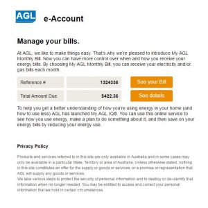 Example of fake AGL bill