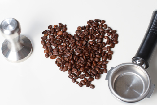 Coffee beans heart tamper