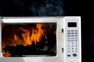 burning microwave
