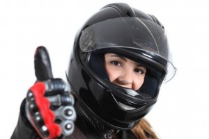 Woman wearing motorcycle gloves