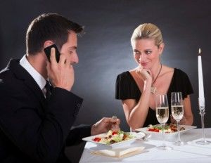Phone used at dining table
